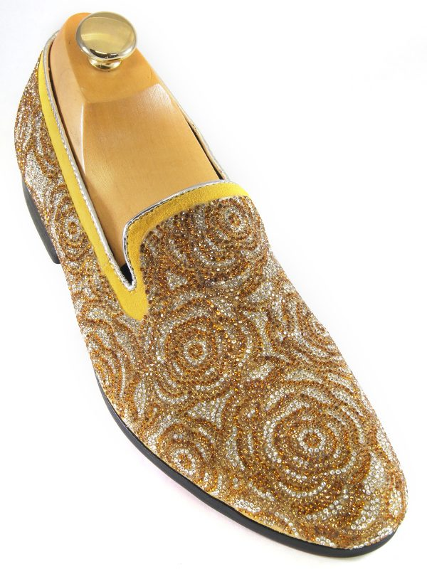 Fiesso Mens Gold Silver Black Rhinestone Floral Design Slip On Party Shoe