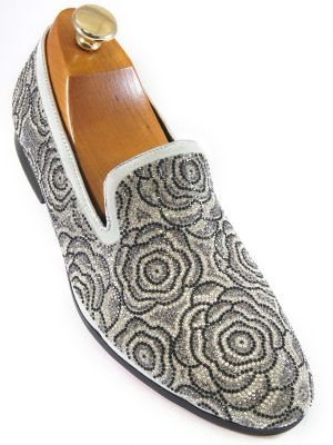 Fiesso Mens Black Silver White Rhinestone Floral Design Slip On Party Shoe