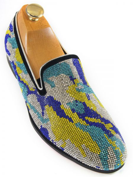Fiesso Mens Blue Green Silver Rhinestone Camouflage Design Slip On Party Shoe