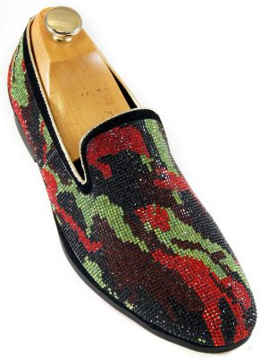 Fiesso Mens Red Green Black Rhinestone Camouflage Design Slip On Party Shoe