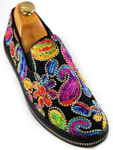 Fiesso Mens Multicolor Floral Stitch Embellishment Fashion Casual Slip On Shoe