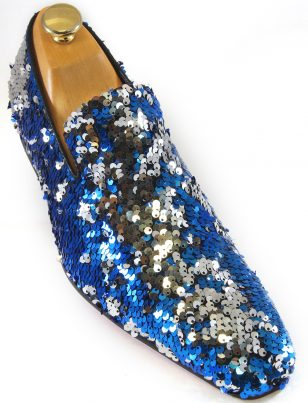 Fiesso Mens Blue Silver Sequin Embellishment Fashion Point Toe Slip On Shoe