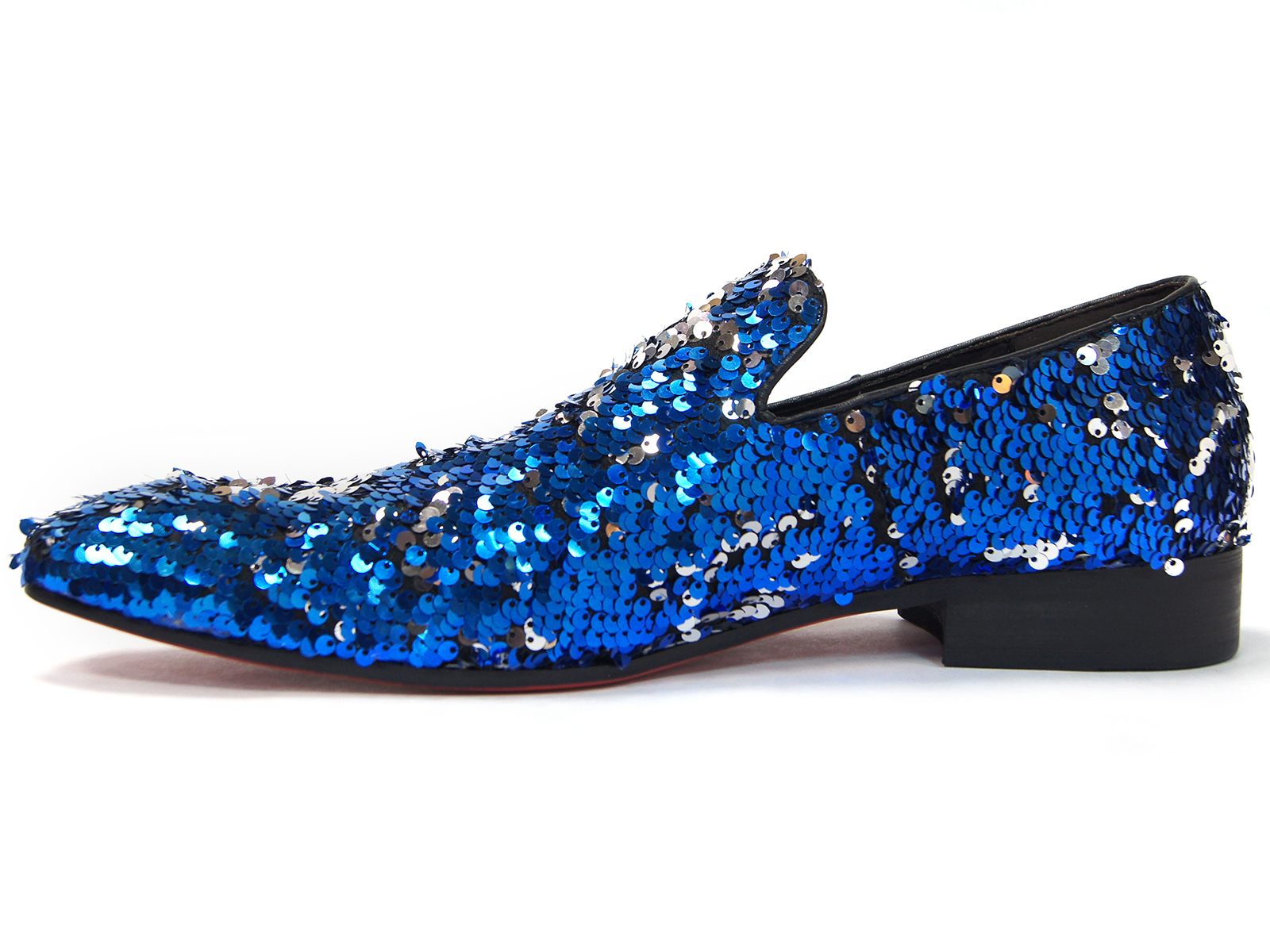 453908e30 Fiesso Mens Blue Silver Sequin Embellishment Fashion Point Toe Slip On Shoe