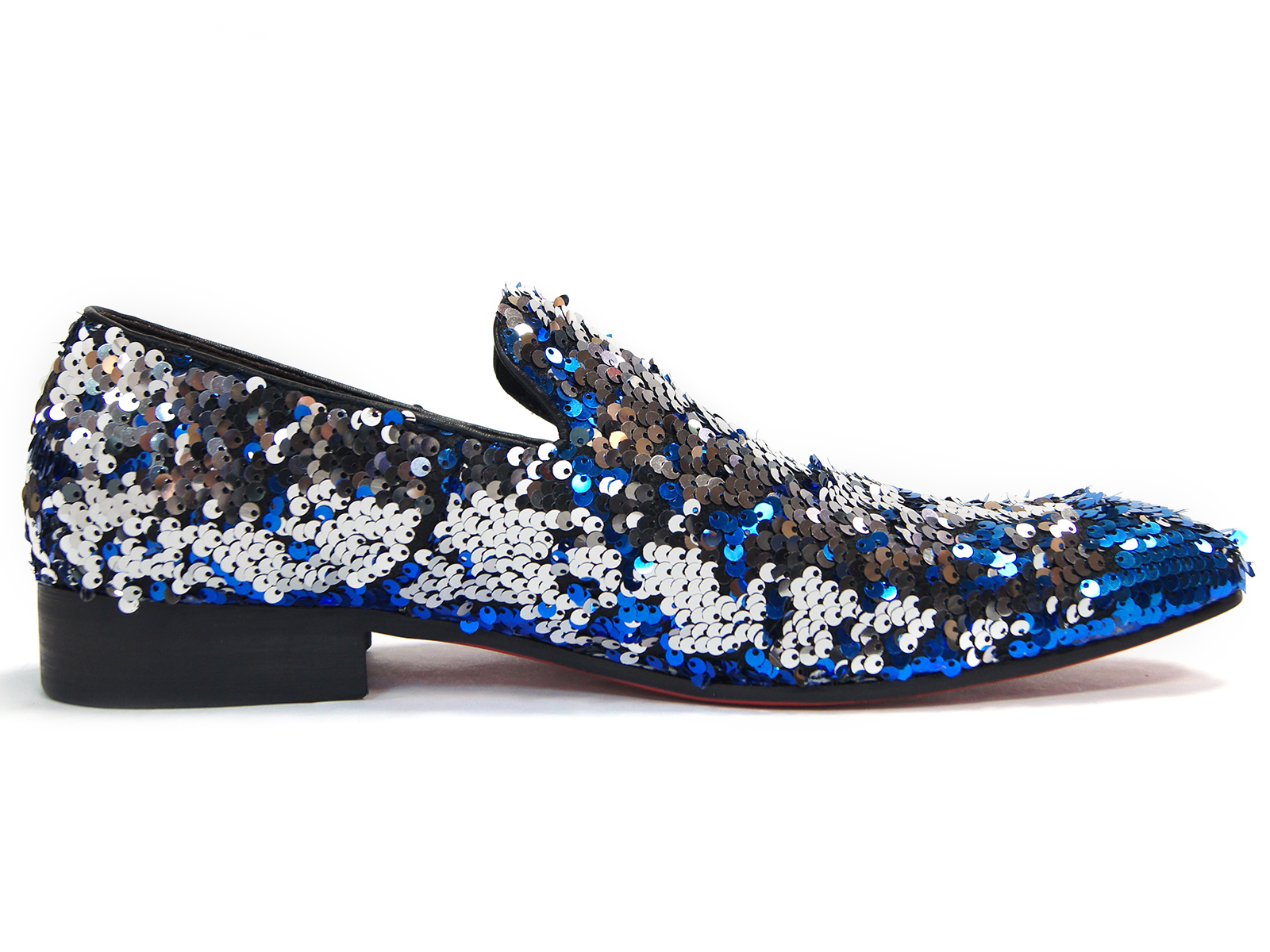 b255cd611 Fiesso Mens Blue Silver Sequin Embellishment Fashion Point Toe Slip On Shoe.  100% Satisfaction GuaranteedFree ...