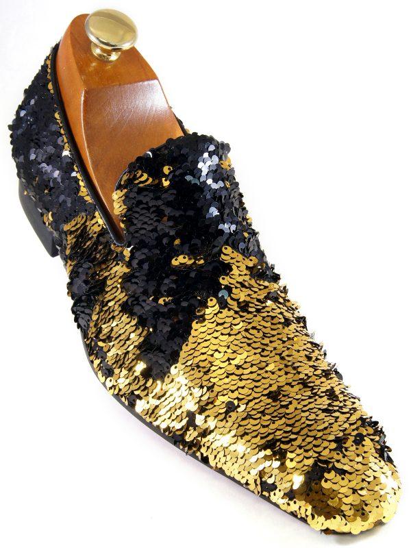 Fiesso Mens Black Gold Sequin Embellishment Fashion Point Toe Slip On Shoe