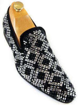 Zota Mens Black Suede Silver Rhinestone Geometric Pattern Slip On Party Shoe