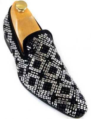 Zota Mens Black Suede Silver Rhinestone Geometric Pattern Slip On Party Shoe