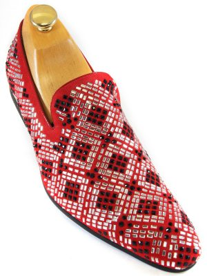 Zota Mens Red Black Suede Silver Rhinestone Geometric Pattern Slip On Party Shoe