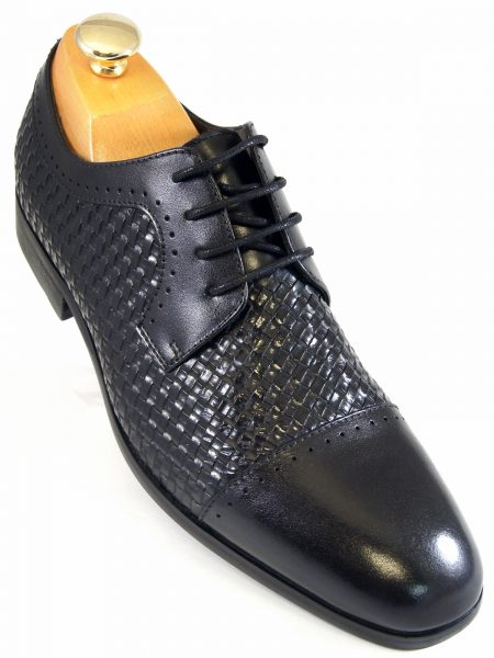 Steve Madden Mens Black Textured Leather Dress Casual Oxford Lace Up Shoe