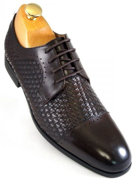 Steve Madden Mens Brown Textured Leather Dress Casual Oxford Lace Up Shoe