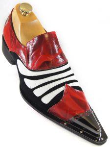 Zota Mens Black Red White Patent Leather Metal Tip Slip On Trendy Loafer Shoe