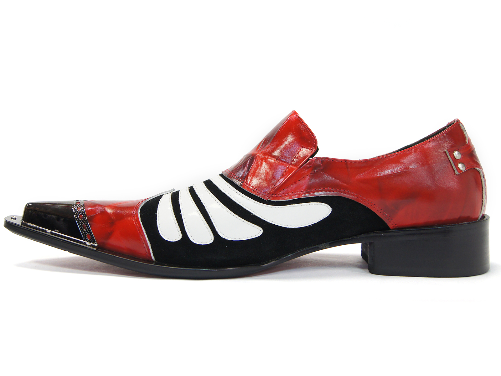 cdef1c832294 Zota Mens Black Red White Patent Leather Metal Tip Slip On Trendy Loafer  Shoe
