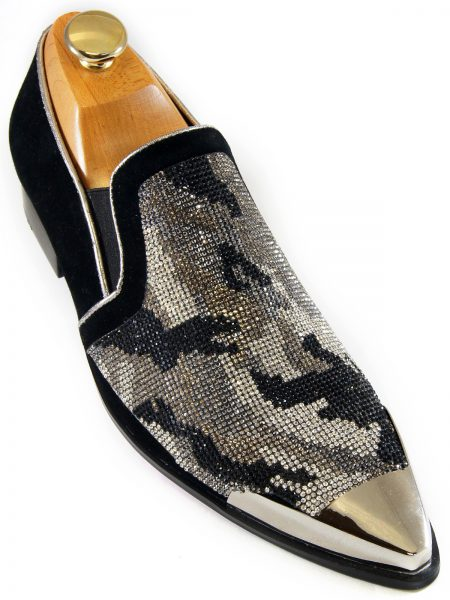 Fiesso Mens Black Silver Camouflage Pattern Rhinestone Metal Toe Loafer Shoe