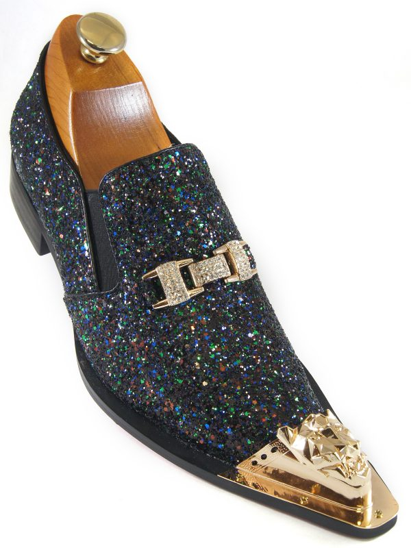 Fiesso Mens Black Multicolor Glitter Gold Buckle Cap Toe Fashion Slip On Shoe