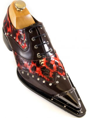 Zota Men Leather Burgundy Red Leopard Pattern Metal Wing Tip Point Toe Shoe