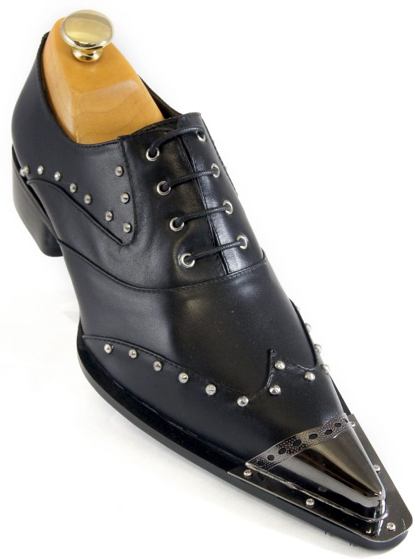 Zota Mens Black Leather Metal Cap Toe Studded Lace Up Casual Party Shoe