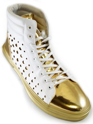 Fiesso Mens White Gold Metallic Perforated PU Leather High Top Sneaker Shoe
