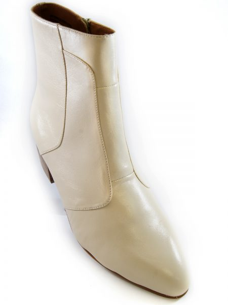 Mens Giorgio Brutini Cream Leather Cuban Heel Zip Up Fashion Ankle Boot