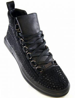 Fiesso Mens Black PU Leather Suede Rhinestone Lace Up High Top Sneaker Shoe