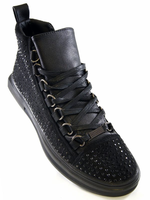 Fiesso Mens Black PU Leather Suede Rhinestone Lace Up High Top Sneaker Shoe