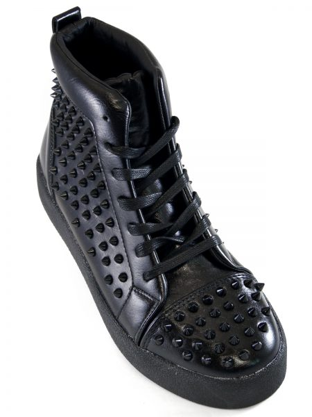 Fiesso Mens Black PU Leather Studded Lace Up High Top Sneaker Shoe