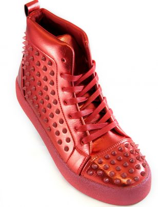 Fiesso Mens Red PU Leather Studded Lace Up High Top Sneaker Shoe