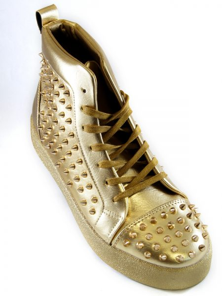 Fiesso Mens Gold PU Leather Studded Lace Up High Top Sneaker Shoe