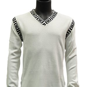 Prestige Mens White Black Trim Greek Key Pattern V Neck Lightweight Sweater