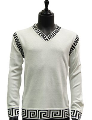 Prestige Mens White Black Trim Patterned V Neck Lightweight Casual Sweater