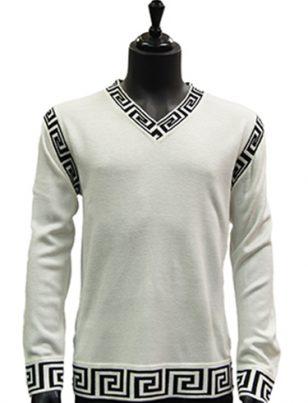 Prestige Mens White Black Trim Patterned V Neck Lightweight Casual Sweater