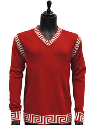 Prestige Mens Red White Trim Patterned V Neck Lightweight Casual Sweater