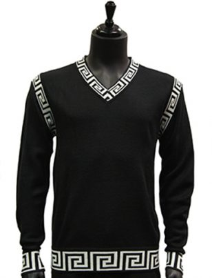 Prestige Mens Black White Trim Patterned V Neck Lightweight Casual Sweater