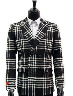R. Lewis Mens Black White Retro Plaid Double Button Casual Fall Blazer Jacket