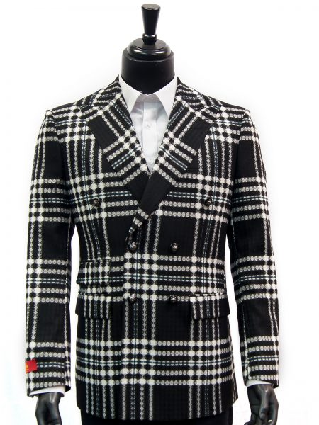 R. Lewis Mens Black White Retro Plaid Double Button Casual Fall Blazer Jacket