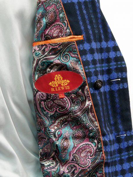 R. Lewis Mens Black Blue Retro Plaid Double Button Casual Fall Blazer Jacket