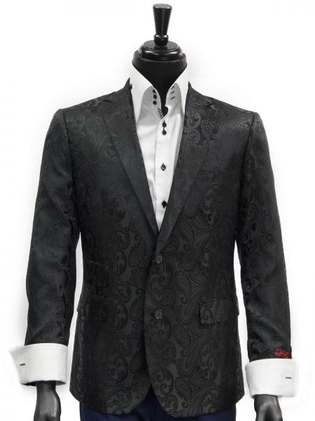 Manzini Mens Black Paisley Design Trendy Fashion Dress 2 Button Blazer Jacket