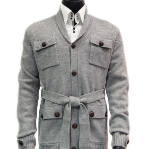 LaVane Mens Gray Button Up Belted Four Pocket Shawl Collar Cardigan Sweater