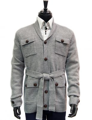 LaVane Mens Gray Brown Button Up Tie Waist Four Pocket Cardigan Sweater