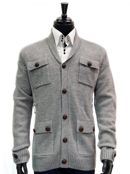 LaVane Mens Gray Brown Button Up Tie Waist Four Pocket Cardigan Sweater