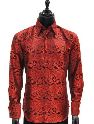 Manzini New Mens Red Black Paisley Design Fashion Button Up Dress Shirt