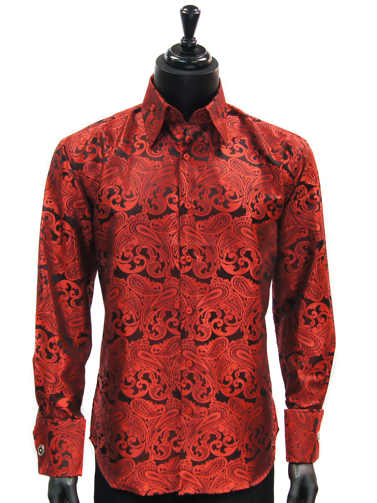 Manzini Mens Red Black Paisley Design Fashion ButtonUp French Cuff ...