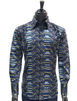 Manzini New Mens Blue Black Gold Striped Paisley Design Button Up Dress Shirt