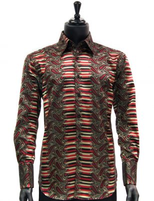 Manzini New Mens Red Black Gold Striped Paisley Design Button Up Dress Shirt