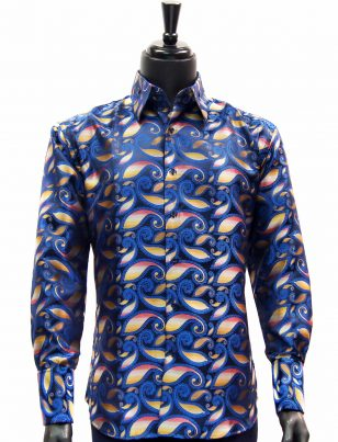 Manzini New Mens Navy Multicolor Gradient Paisley Design Button Up Dress Shirt