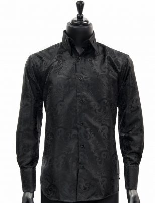 Manzini Mens Black Paisley Design Trendy Fashion Dress Button Down Dress Shirt