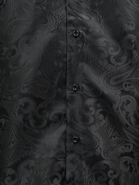 Manzini Mens Black Paisley Design Trendy Fashion Dress Button Down Dress Shirt