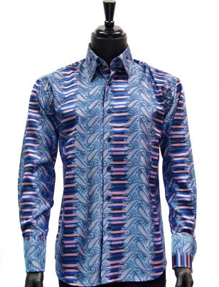 Manzini Mens Pink Navy Blue Striped Paisley Design Button Up Dress Shirt