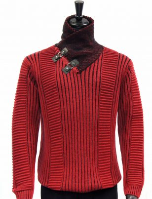 LaVane Red Black Textured Buckle Zip Up High Collar Cold Weather Sweater