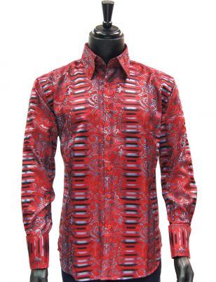 Manzini New Mens Red Black Blue Striped Paisley Design Button Up Dress Shirt