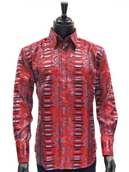 Manzini New Mens Red Black Blue Striped Paisley Design Button Up Dress Shirt